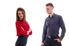 Horizontal portrait of beautiful girl in red clothes and charming guy in shirt Royalty Free Stock Photo