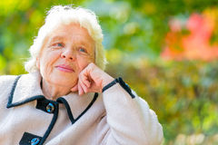 Horizontal portrait of a beautiful pensioner Stock Images