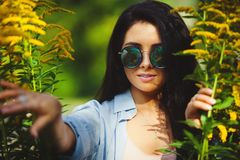 Horizontal portrait of beautiful woman in round sunglasses peeps out among yellow flowers. Summer shot of cute girl with circular glasses stock image