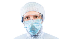 Horizontal portrait of a biochemist in a protective suit Stock Photos
