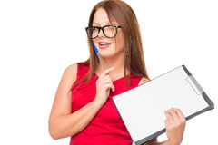 Horizontal portrait of a businesswoman with a blank form Stock Photo