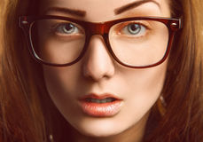 Horizontal portrait of caucasian woman in glasses Stock Image