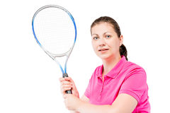Horizontal portrait of a concentrated tennis player with racket Royalty Free Stock Images