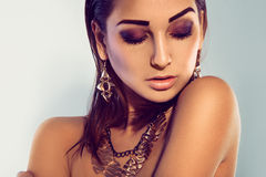 Horizontal portrait of fashion model with make up and accessorie Stock Photo