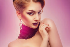 Horizontal portrait of fashion model with make up on white backg Stock Images