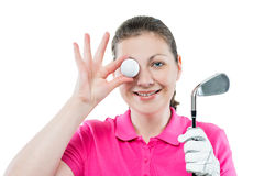 horizontal portrait of funny girl golfer with equipment Royalty Free Stock Photography