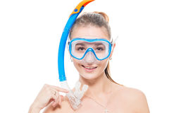 Horizontal portrait of a girl in a diving mask Stock Photo