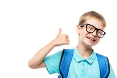 Horizontal portrait of a happy school boy wearing glasses isolat Stock Images