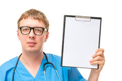 Horizontal portrait of a male doctor with a blank Royalty Free Stock Photo
