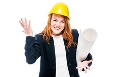 horizontal portrait of a senior architect woman with blue helmet Stock Images