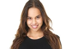 Horizontal portrait of a smiling young woman Royalty Free Stock Image