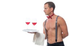 Horizontal portrait of the waiter with glasses of the wine Stock Images