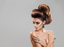 Horizontal portrait of young fashion model with creative hairsty stock images