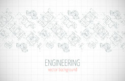 Horizontal poster, cover, banner, background of blue engineering drawings of parts. Notebook sheet. Vector Royalty Free Stock Photos