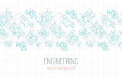 Horizontal poster, cover, banner, background of blue engineering drawings of parts. Vector Royalty Free Stock Photography