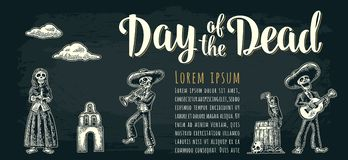Horizontal poster for Dia de los Muertos. Day of the Dead lettering. Horizontal poster for Dia de los Muertos. Skeleton in Mexican national costumes hold candle Stock Images