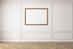 Horizontal poster in empty blue room, wooden floor. Horizontal poster with a brown frame is hanging on a dark blue wall in an empty room with wooden floor. 3d Stock Image