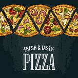 Horizontal poster slice pizza Pepperoni, Hawaiian, Margherita, Mexican, Seafood, Capricciosa. Royalty Free Stock Images