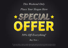 Horizontal poster Special Offer Sale. Special Offer vector illustration on black background. Horizontal poster Special Offer Sale 50 Off Everything creative Stock Photo
