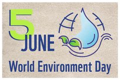 Horizontal poster for World environment day with line illustration, lettering and earth on craft paper background. Banner, website royalty free illustration