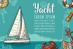 Horizontal poster for yacht club with text template. Vector engraving Stock Photo