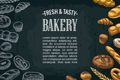 Horizontal posters with bread on the dark background. Vector color and white hand drawn vintage engraving illustration for poster, label and menu bakery shop Royalty Free Stock Images