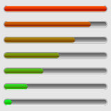 Horizontal progress bars. Completion, loading, phases concepts. Royalty free vector illustration Royalty Free Stock Images