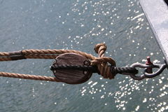 Horizontal pulley. With rope Stock Images