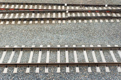 Horizontal rails railway spring. The horizontal rails on the railroad royalty free stock image