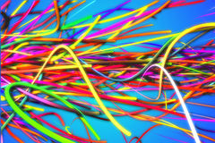 Horizontal Rainbow Strands Line Glow Blue Background Royalty Free Stock Photos