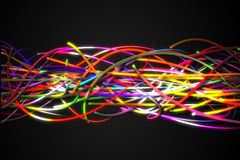 Horizontal Rainbow Strands Line Glow Dark Background Royalty Free Stock Photography