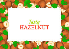 Horizontal Rectangle colored frame composed of delicious of hazelnut. Vector card illustration. Stock Photo