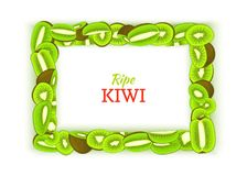 Horizontal rectangular frame composed of delicious green kiwi fruit. Vector card illustration. Rectangle kiwifruit fram. Fruits for design food packaging Stock Image