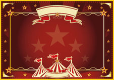 Horizontal red magic circus. Horizontal circus background for a poster. Ideal for your publicity Royalty Free Stock Image