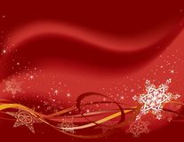 Horizontal red snowflakes. Snowflakes, stars and ribbons over a red background Stock Photos