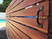 Horizontal Redwood Pool Equipment Cover Removable Fence Royalty Free Stock Image