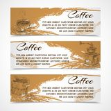 Horizontal retro coffee set banners. Horizontal retro black strong coffee aroma banners set with beans grinder and coffeepot doodle handdrawn vector illustration Royalty Free Stock Images