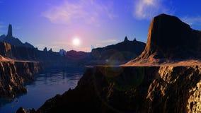 Horizontal rocheux et lac Images libres de droits