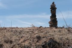 Horizontal of rock cairn along state highway nine in southwest New Mexico. royalty free stock images