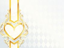 Horizontal rococo wedding banner with heart emblem stock illustration