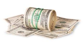 Horizontal roll on the hundred dollar bills Royalty Free Stock Photo