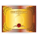 Horizontal royal gold certificate with lace ornate Stock Photo