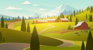Horizontal rural illustration stock