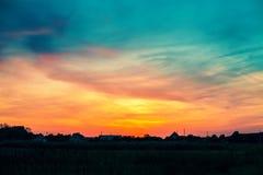 Horizontal rural au coucher du soleil photographie stock