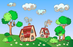 Horizontal rural avec des maisons Images libres de droits