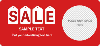 Horizontal sale red banner. Stock Photo