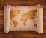 Horizontal scroll paper, parchment with world map Royalty Free Stock Image