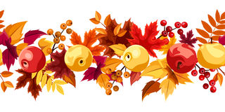 Horizontal seamless background with autumn leaves  Royalty Free Stock Photo