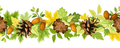 Horizontal seamless background with autumn leaves, cones and acorns. Vector illustration. Stock Image