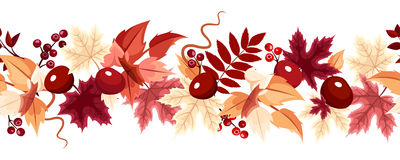 Horizontal seamless background with autumn leaves. Vector illustration. Stock Photo